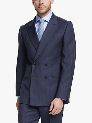 John Lewis & Partners Wide Stripe Double Breasted Tailored Suit Jacket, Blue