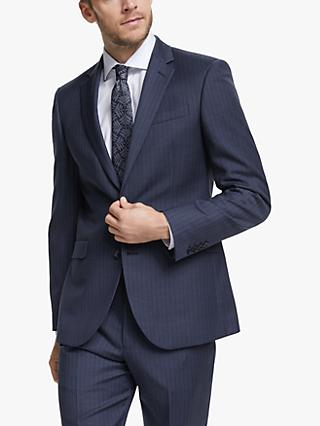 John Lewis & Partners Wide Stripe Tailored Suit Jacket, Blue