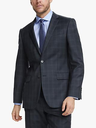John Lewis & Partners Wool Check Regular Fit Suit Jacket, Blue/Grey