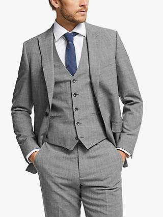 John Lewis & Partners Wool Twist Slim Fit Suit Jacket, Light Grey
