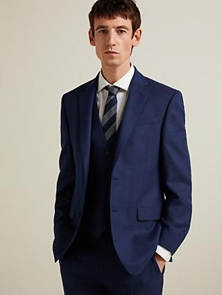 John Lewis & Partners Birdseye Semi Plain Wool Suit Jacket, Royal Blue