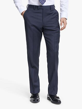 John Lewis & Partners Wide Stripe Tailored Suit Trousers, Blue