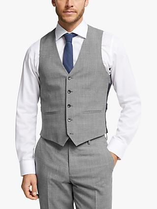 John Lewis & Partners Wool Twist Slim Fit Waistcoat, Light Grey