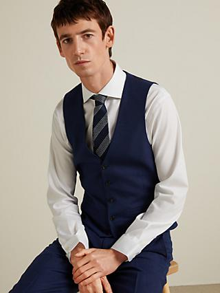 John Lewis & Partners Wool Birdseye Semi Plain Waistcoat, Royal Blue