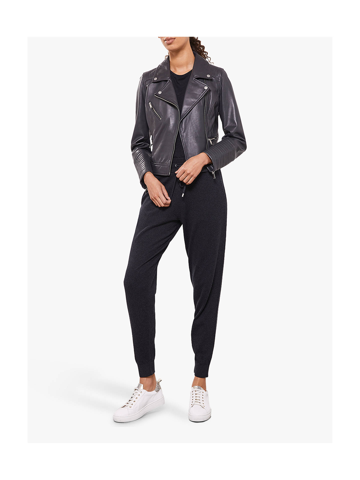 Buy Mint Velvet Leather Zip Biker Jacket, Dark Grey, 6 Online at johnlewis.com