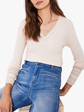 Mint Velvet Pale V-Neck Knit Top, Pink