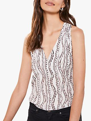 Mint Velvet Wilma Chain Print V-Neck Halter Top, Multi