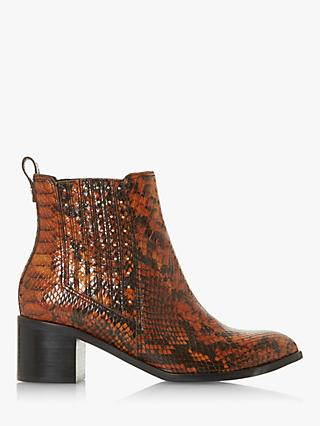 Dune Plaza Leather Block Heel Ankle Boots