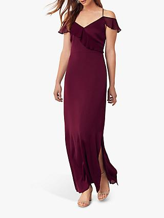 Oasis Ruffle Satin Maxi Dress, Burgundy