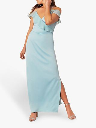 Oasis Ruffle Satin Maxi Dress, Pale Green