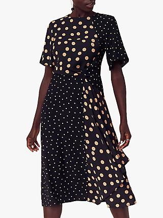 Oasis Patched Spot Midi Dress, Multi Black