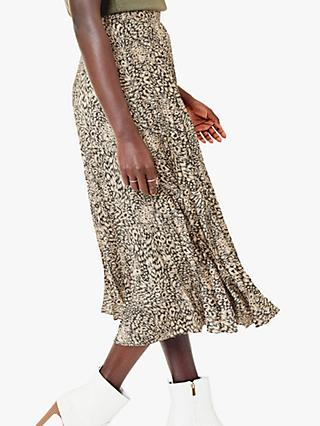 Oasis Animal Print Midi Skirt, Multi Natural