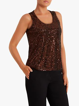 Fenn Wright Mason Heloise Sequin Sleeveless Vest Top, Rose Gold
