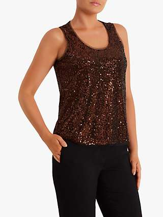 Fenn Wright Manson Heloise Sequin Sleeveless Vest Top, Rose Gold