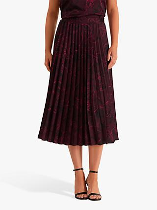 Fenn Wright Manson Gilbertine Pleated Midi Skirt, Magenta/Floral