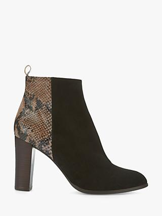 Mint Velvet Tanya Leather Ankle Boots, Black/Snake Print