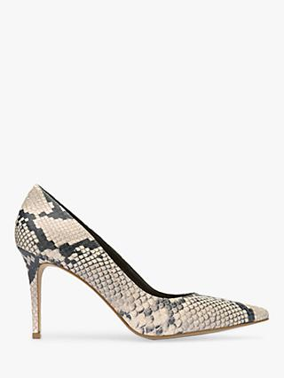 Mint Velvet Sarah Snake Print Point Toe Court Shoes, Multi