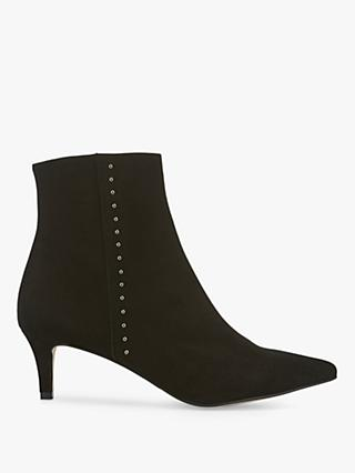 Mint Velvet Jodie Leather Kitten Heel Ankle Boots, Black
