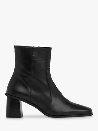 Whistles Alexandra Leather Ankle Boots, Black