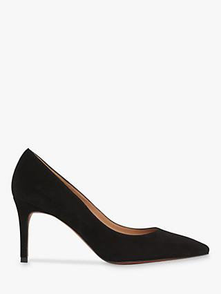Whistles Cori Suede Stiletto Heel Court Shoes, Black