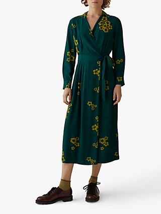 Toast Cross Hatch Wrap Dress, Pine Green