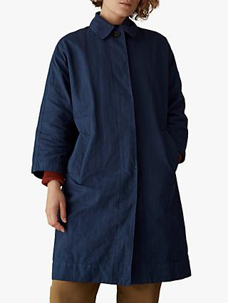 Toast Cotton Linen Canvas Coat, Japan Blue