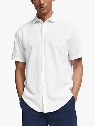John Lewis & Partners Regular Fit Short Sleeve Linen Shirt, White