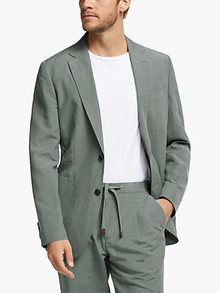 John Lewis & Partners Zegna Silk Linen Tailored Suit Jacket, Green
