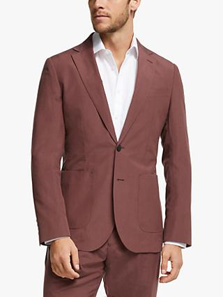 John Lewis & Partners Zegna Silk Linen Tailored Suit Jacket, Raspberry