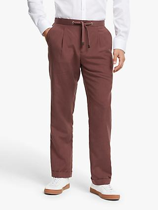 John Lewis & Partners Zegna Silk Linen Tailored Suit Trousers, Raspberry