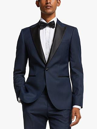 John Lewis & Partners Dogtooth Tailored Fit Dress Suit Jacket, Navy