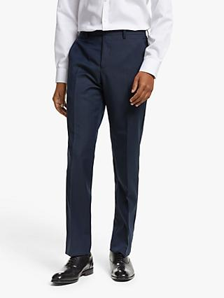 John Lewis & Partners Dogtooth Tailored Fit Dress Suit Trousers, Navy