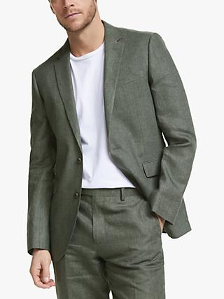 John Lewis & Partners Linen Tailored Suit Jacket, Sage