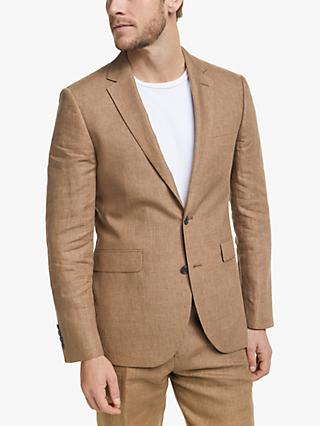 John Lewis & Partners Linen Tailored Suit Jacket, Tobacco