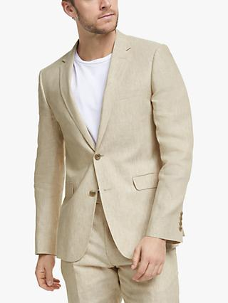 John Lewis & Partners Linen Slim Fit Suit Jacket, Stone