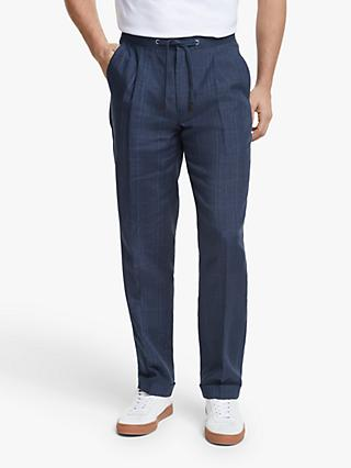 John Lewis & Partners Linen Check Relaxed Fit Suit Trousers, Blue