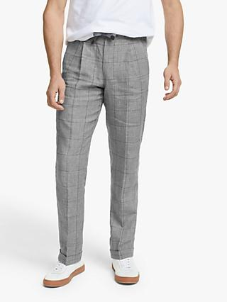 John Lewis & Partners Linen Check Relaxed Fit Suit Trousers, Grey