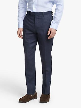 John Lewis & Partners Linen Slim Fit Suit Trousers, Navy