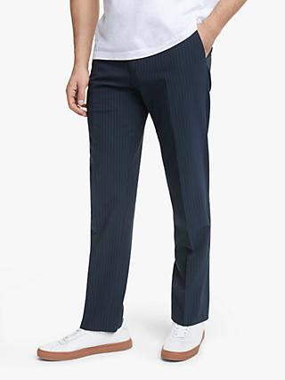 John Lewis & Partners Seersucker Stripe Suit Trousers, Navy