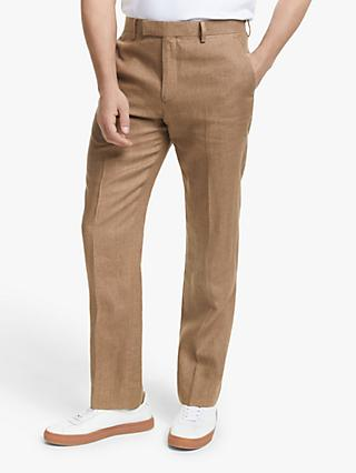 John Lewis & Partners Linen Tailored Suit Trousers, Tobacco