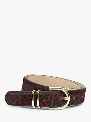Hobbs Helena Leather Leopard Print Belt, Red