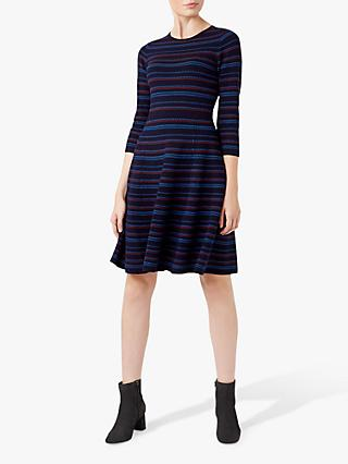 Hobbs Katie Knitted Dress, Navy/Multi