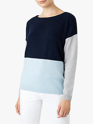Hobbs Sofia Colour Block Sweatshirt, Navy/Grey