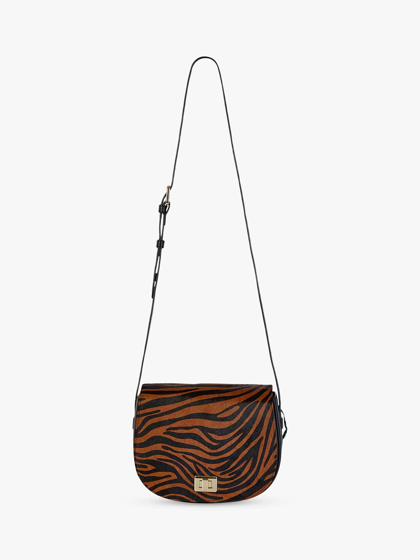 Hobbs Oxford Leather Zebra Print Saddle Bag, Brown at John ...