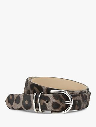 Hobbs Helena Leather Leopard Print Belt, Grey