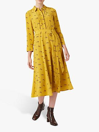 Hobbs Tanya Shirt Dress, Mustard Multi