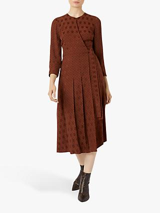 Hobbs Hazel Wrap Dress, Caramel