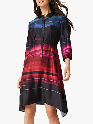 Phase Eight Sena Satin Shirt Dress, Black/Multi