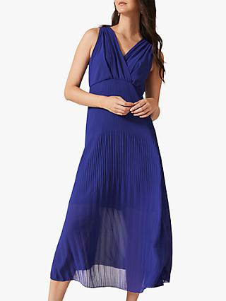 Phase Eight Juliet Pleated Dress, Cobalt