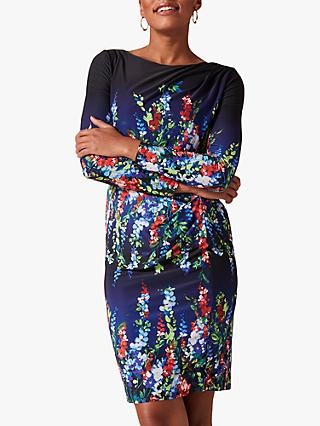 Phase Eight Kris Floral Placement Print Dress, Black/Multi